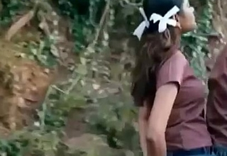 Schoolgirl Pressing her mean Boobs to a guy on Bike
