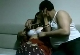 Indian desi tie the knot in saree going to bed Husband in house