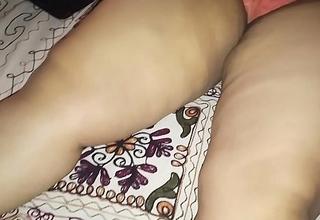 Hot Actress Wife sleeping wearing Orange  panty