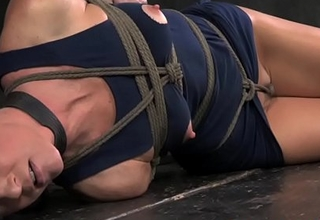 Overarm tied breast bondage India Summer